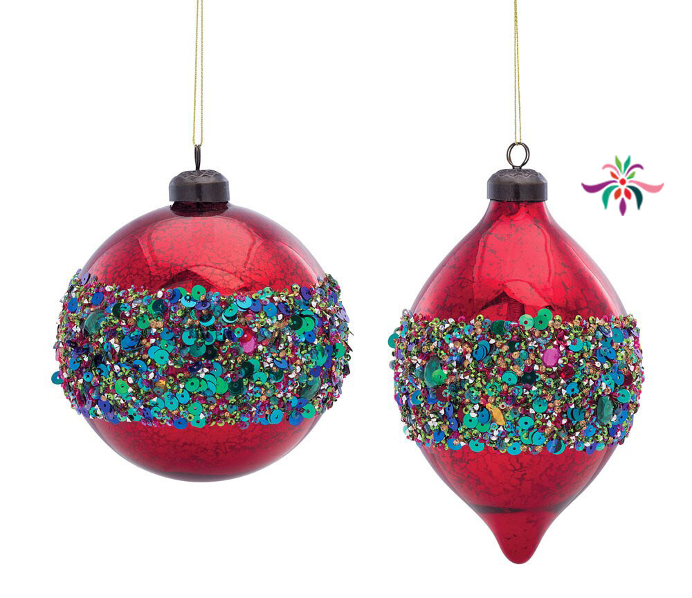 "Glass & Sequin Drop Ornament - Red & Green - 7""L"