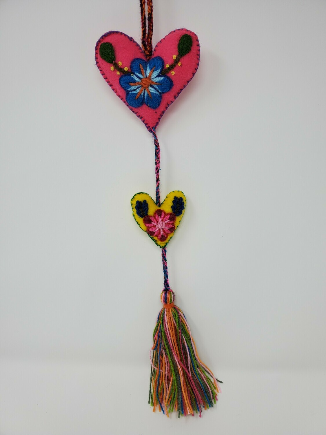 """Embroidered String Heart - Pink & Yellow 19"""" L"""