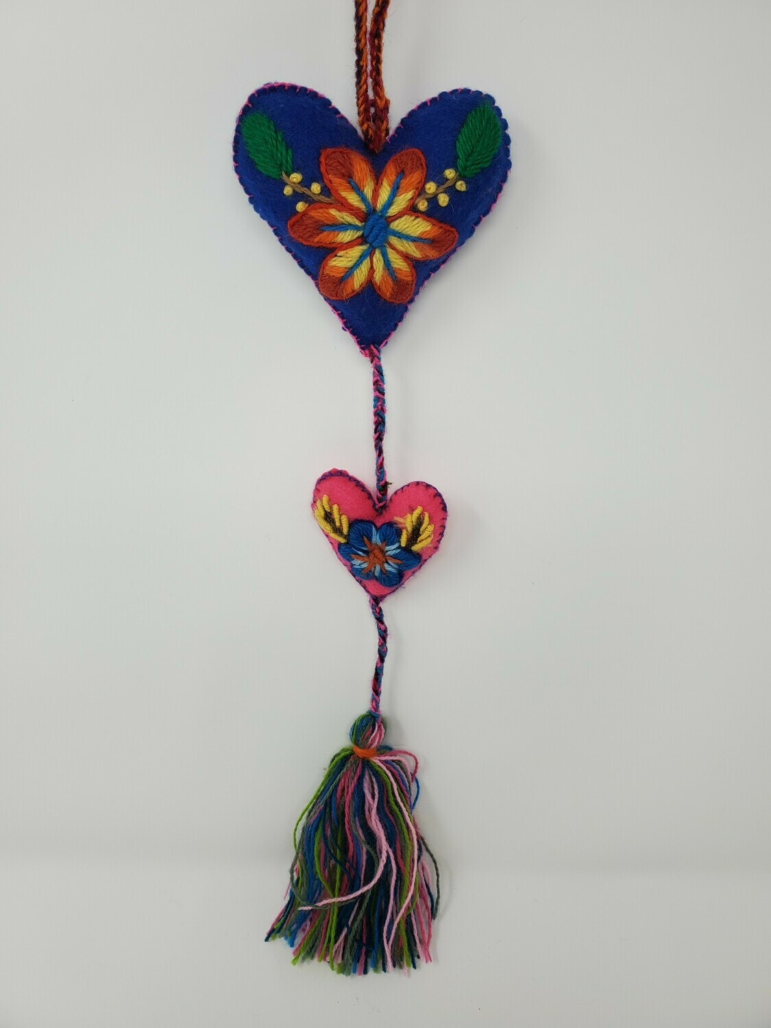 """Embroidered String Heart - Blue & Pink 19"""" L"""