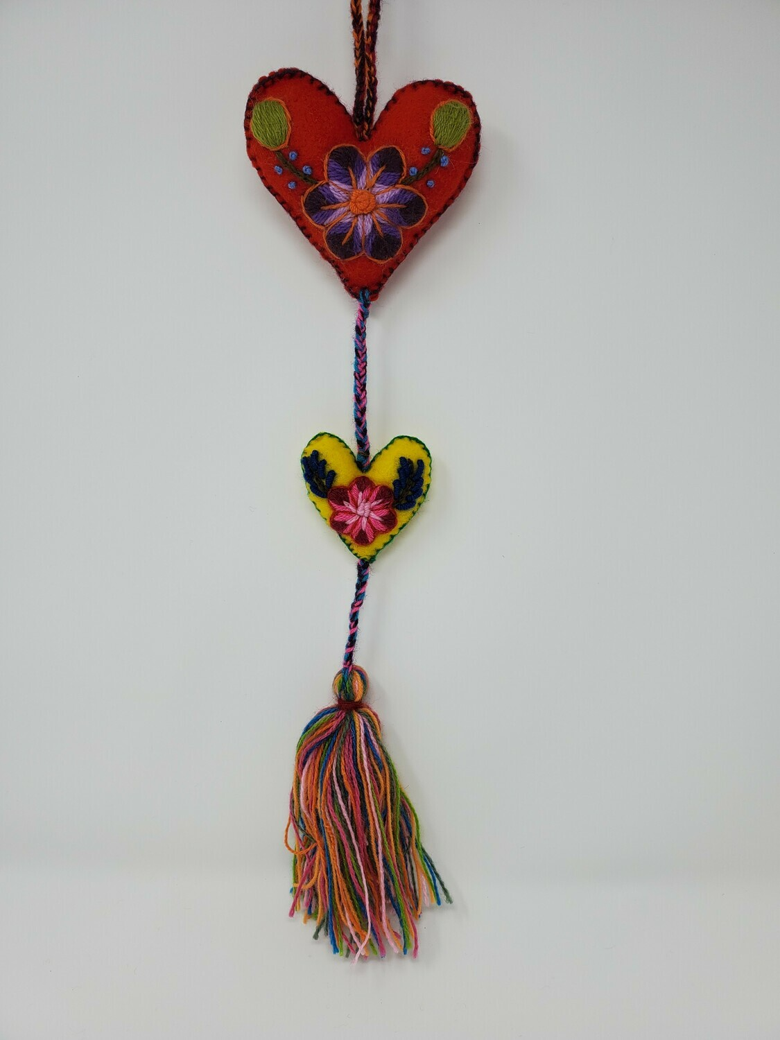 "Embroidered String Heart - Red & Yellow 19"" L"