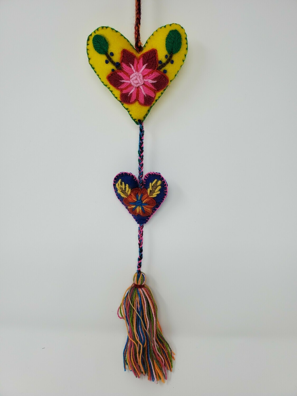 """Embroidered String Heart - Yellow & Blue 19"""" L"""