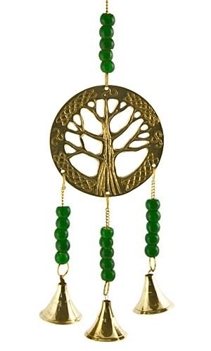 """My Mystic Tree of Life Brass Chime W/ Beads 11""""L"""