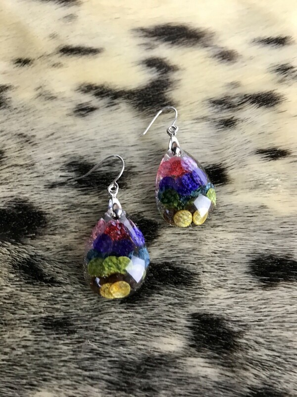 rainbow salmon skin earring