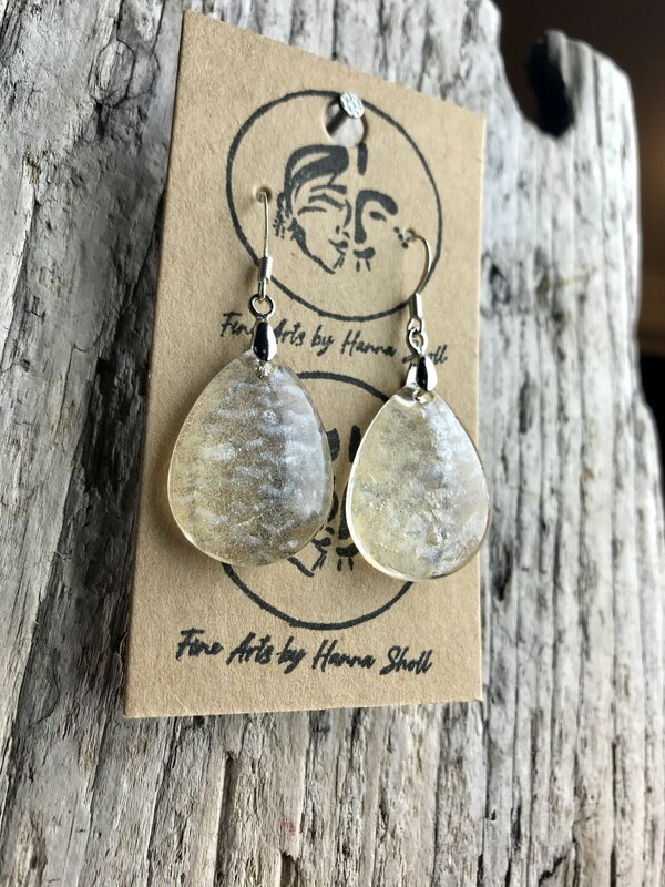 natural salmon skin earrings