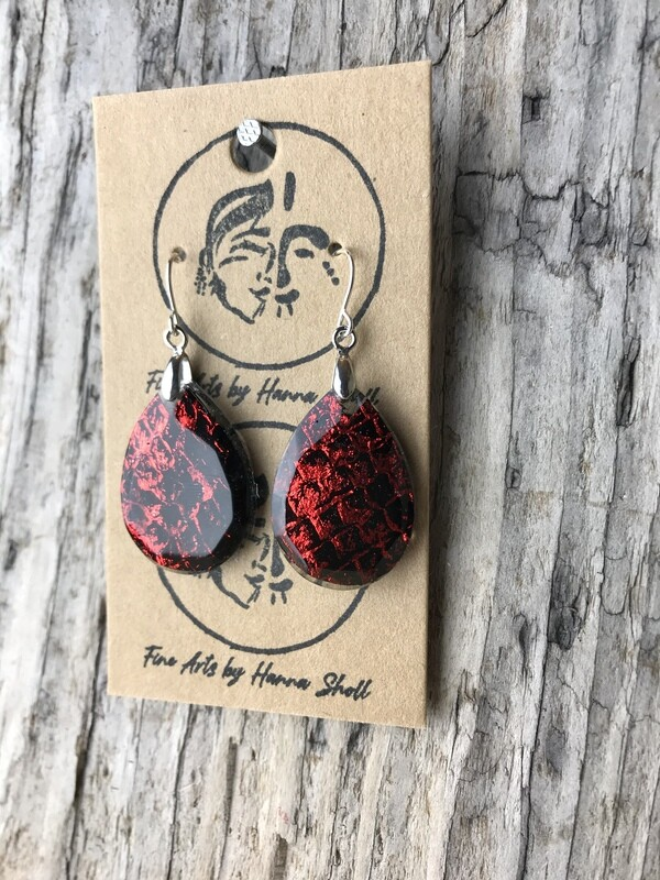red foiled salmon skin earrings