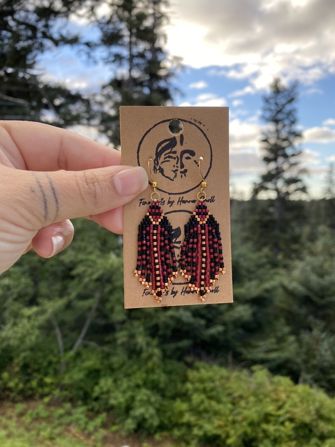 Red, gold and black beaded earrings
