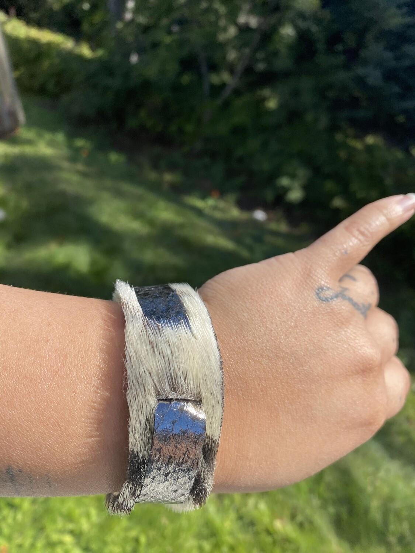 Medium, Seal skin and foil salmon skin bracelet