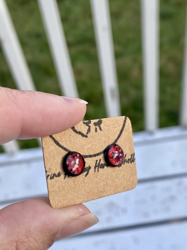 Beautiful tiny dark pink, salmon skin stud earrings