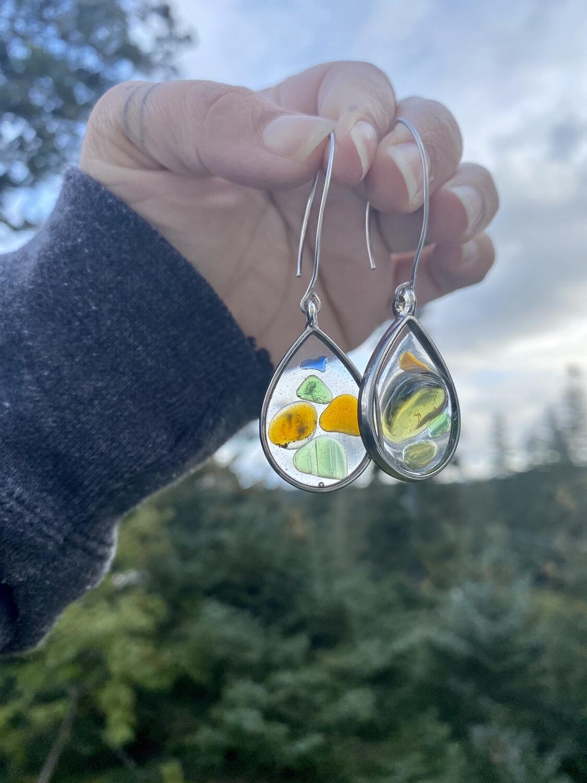 Teardrop beach glass earrings