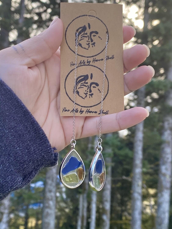 Long teardrop beach glass earrings