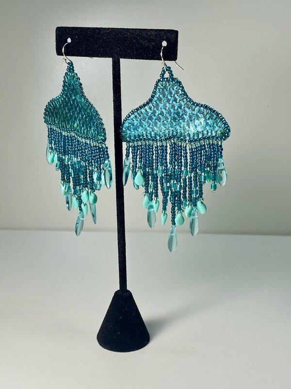 Teal - Whale Tail chandelier earrings