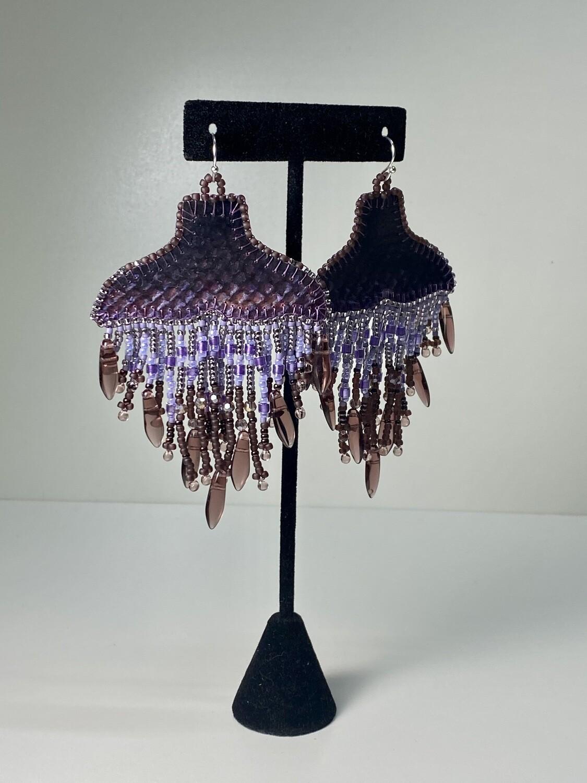 Purple - Whale Tail chandelier earrings
