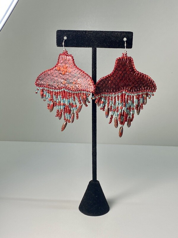 Red and Frost - Whale Tail chandelier earrings