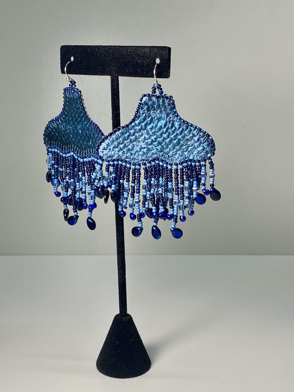 ocean blue - Whale Tail chandelier earrings