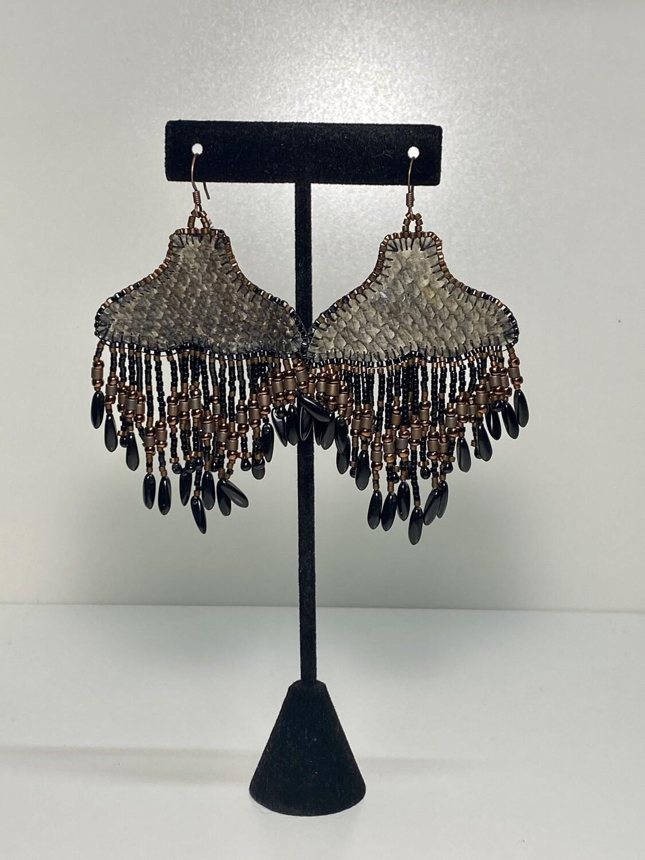 deep grey and dark bronze - Whale Tail chandelier earrings