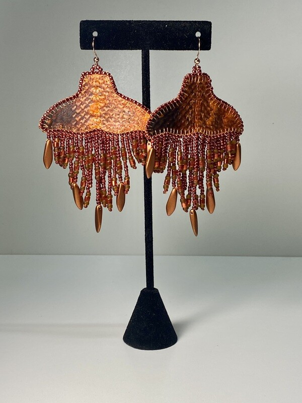copper - Whale Tail chandelier earrings