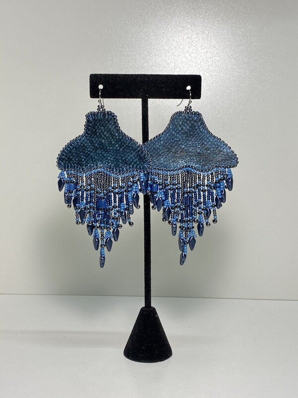 blue - Whale Tail chandelier earrings