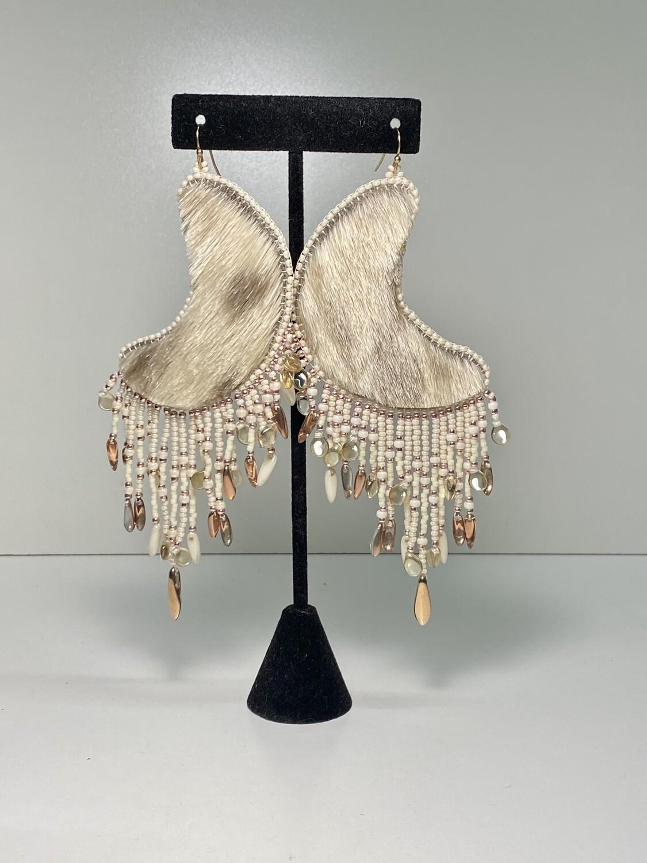 sealskin - crescent moon chandelier earrings