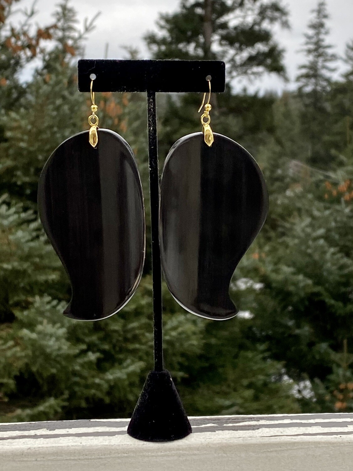 Baleen and gold earrings
