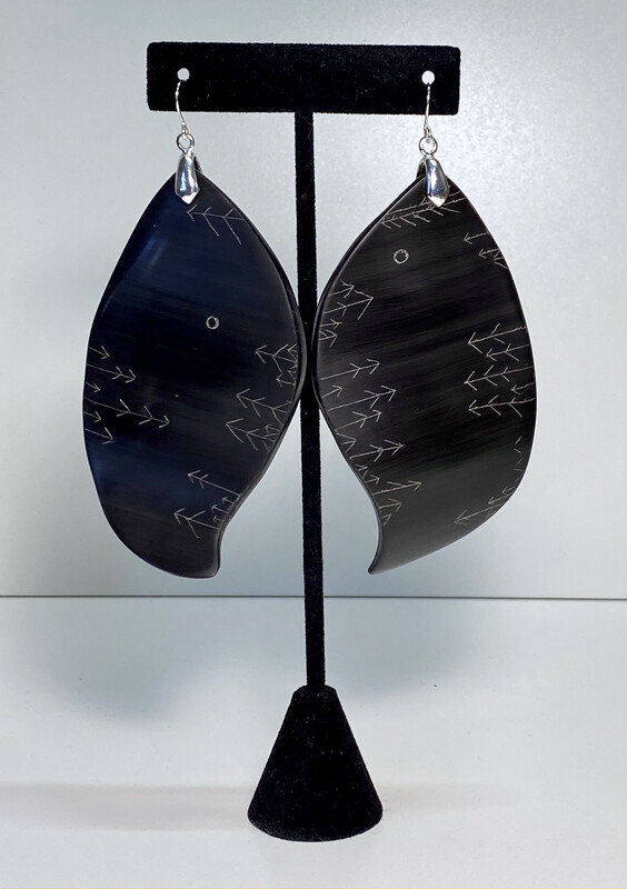 (1) Large elegant Baleen and silver earrings