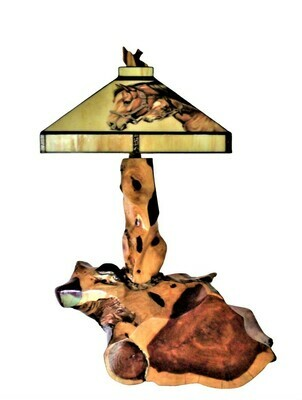 Rustic Cedar Abstract Root Table Lamp