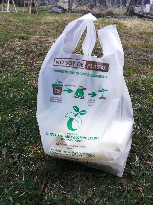 Bolsas biodegradables compostables camiseta 30x40. Pack x 50 bolsas