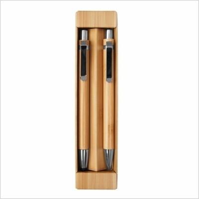 Set de birome y lapiz mecánico de bambu