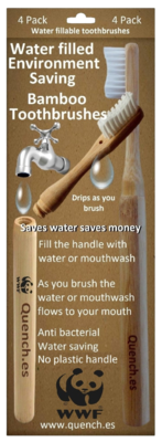 1 x 4 Pack of water saving toothbrushes (click on the box to enlarge)