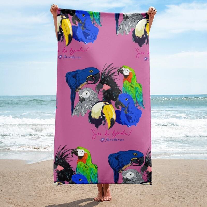 """See Da Birds"" Selfie featuring the Parrotsrus Flock Towel"
