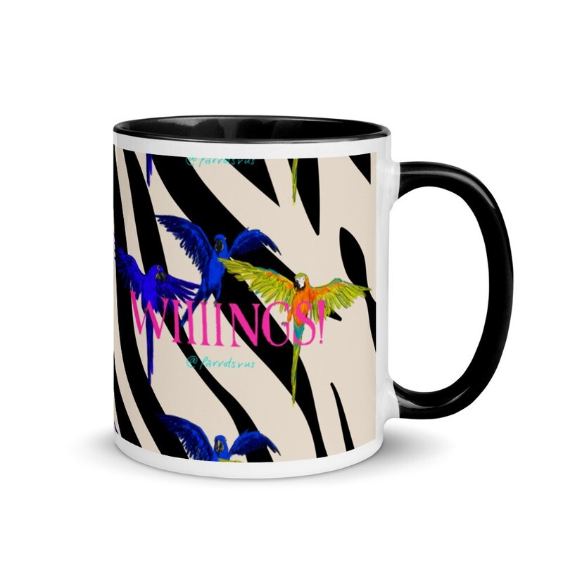 """Coffee gives me """"WIIINGS!"""" Mug with Color Inside featuring Hannibal, Curacao and Versace from the Parrotsrus Flock"""