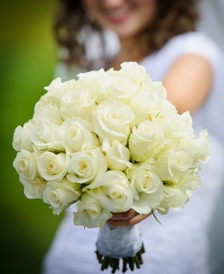 White Rose Clutch Bouquet