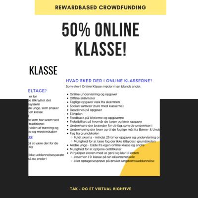 Støt med 50% af Online Klasse - én elev - én måned