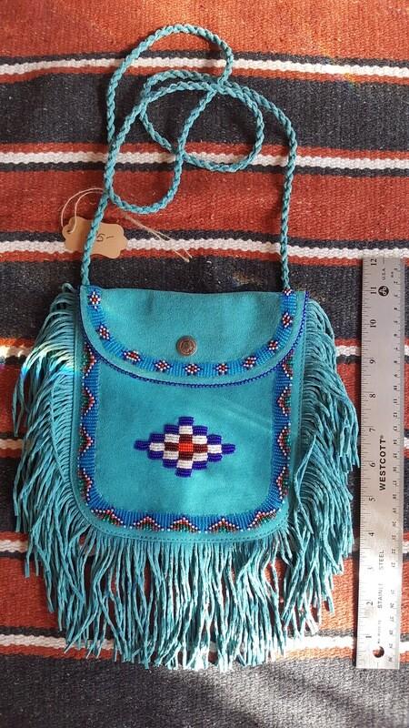 Hand beaded fringed leather bag - BLUE