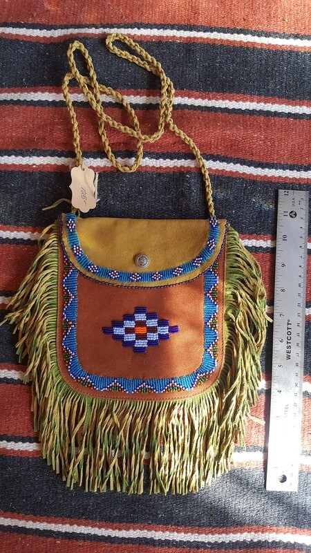 Hand beaded fringed leather bag - Green & Brown