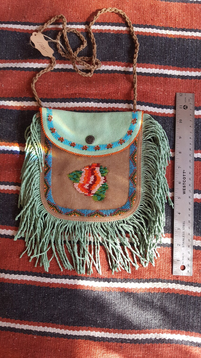 Hand beaded fringed leather bag - Green