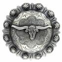 2-3/8 Inch Diameter Silver Longhorn Concho