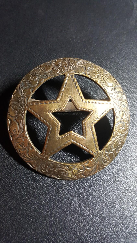 Engraved Bronze Star Scarf Slide