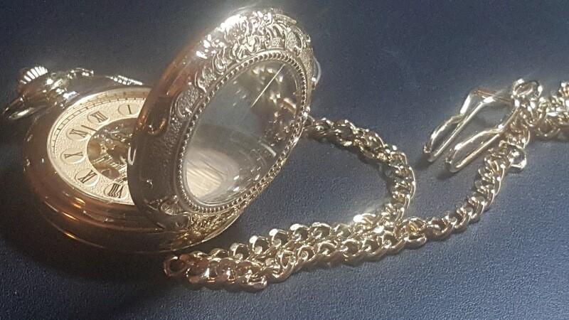 Gold Color Hunters Case Stem Wind/Set Pocket Watch
