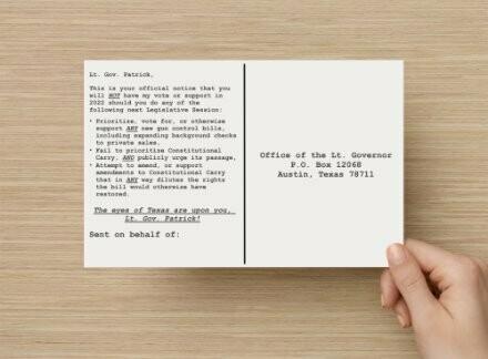 Postcard to Lt. Gov. Patrick