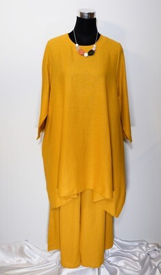 Cotton Linen Flat Tunic and Pants