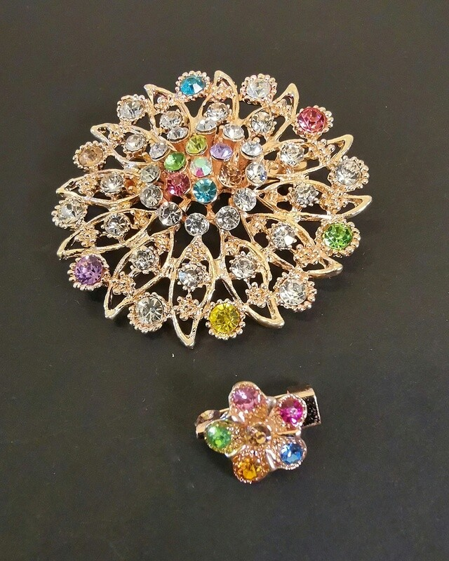 Sublime Gem Flowers Brooch and Pin