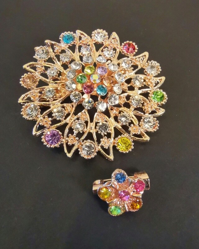 Sublime Gem Flowers Brooch and Pin II