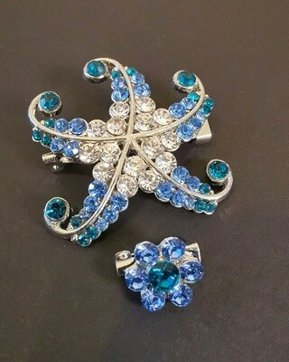 Symphony Sapphire Starfish Brooch and Pin