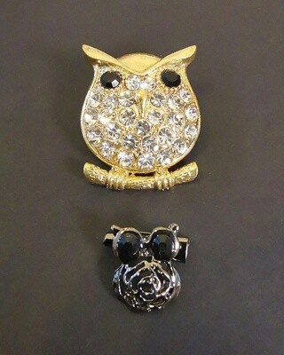 Royalty Golden Owl Brooch and Pin