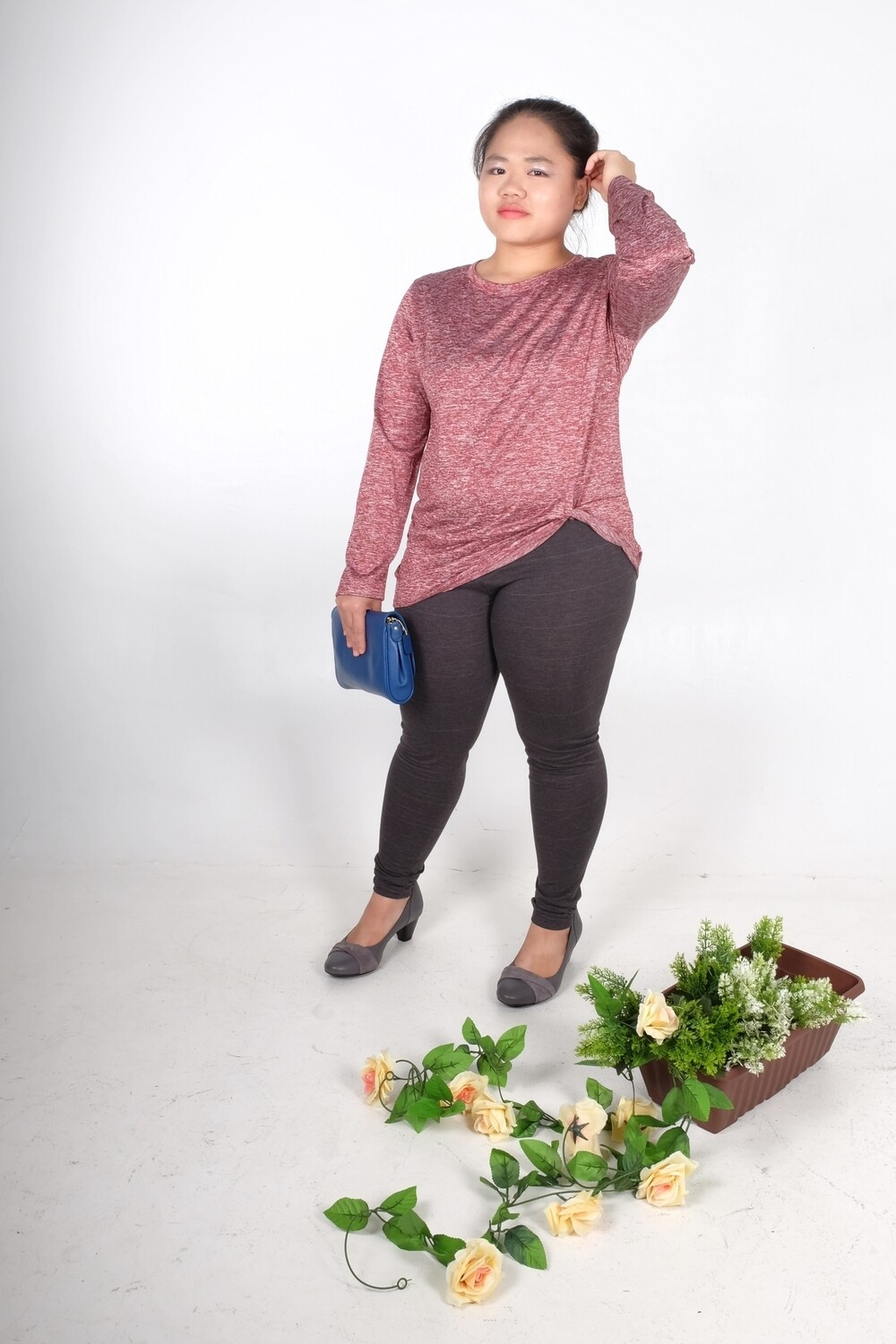 Long Sleeve Twist Knot Front Tops