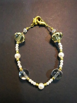 Dual Function Face Mask Extender and Bracelet (Crystal Pearl Gold Color)