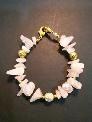 Dual Function Face Mask Extender and Bracelet (Raw Pink Stone with Gold and Pearl Beads