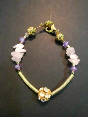 Dual Function Face Mask Extender and Bracelet (Raw Pink Stone with Gold Diamond and Amethyst Color Beads)