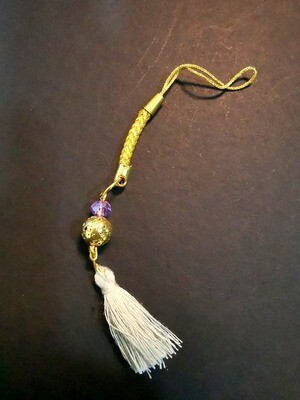 Dual Function Handphone Lanyard & Mask Accessory (Gold Ball Amethyst Soft Grey Brush)