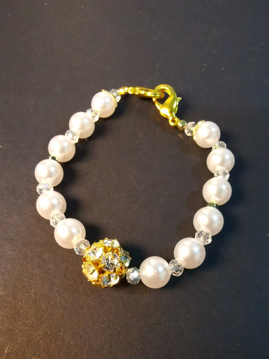 Bracelet & Face Mask Extender Dual Function (Delaney - Gold Diamond Ball, Pearl Beads & Durable Soft Wire String)